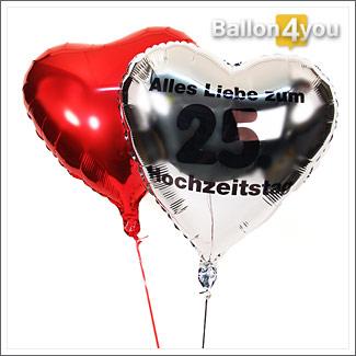 Alles Liebe Zum 25 Hochzeitstag Ballonbukett Geburtstagsgeschenk24 De