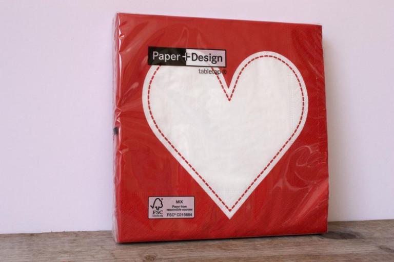 20 Papier-Servietten Herz Heart rot weiß 33×33
